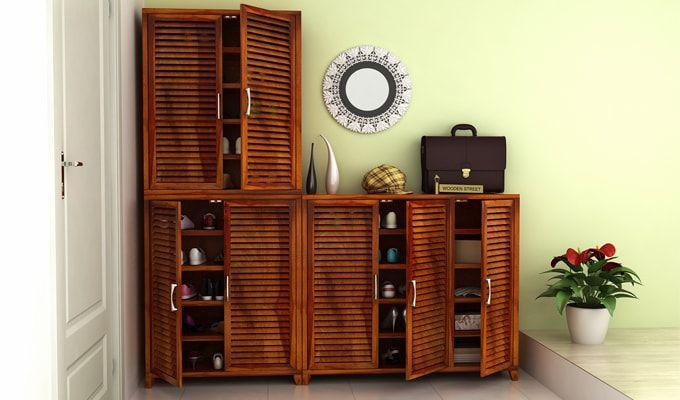 Niles Shoe Cabinet Set Of-3 (Honey Finish)-1