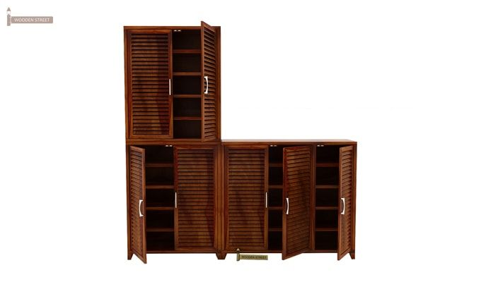 Niles Shoe Cabinet Set Of-3 (Honey Finish)-4