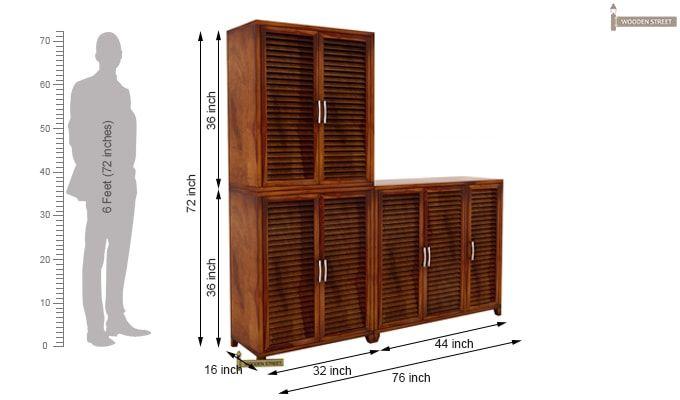 Niles Shoe Cabinet Set Of-3 (Honey Finish)-5