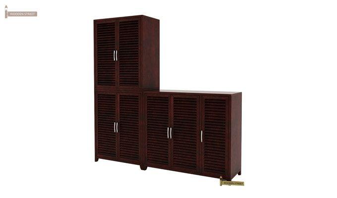 Niles Shoe Cabinet Set Of-3 (Mahogany Finish)-4