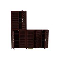 Niles Shoe Cabinet Set Of-3 (Mahogany Finish)