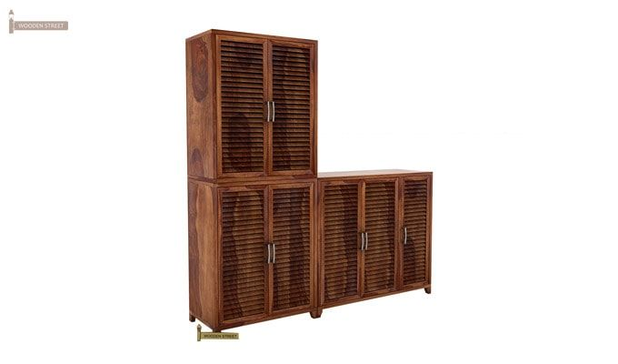 Niles Shoe Cabinet Set Of-3 (Teak Finish)-3