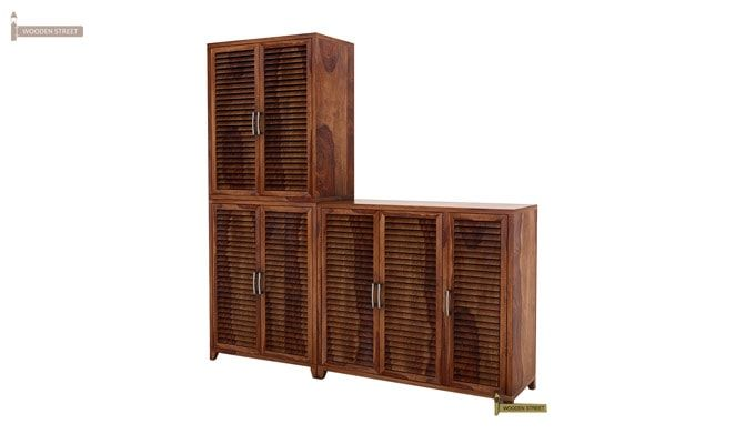 Niles Shoe Cabinet Set Of-3 (Teak Finish)-4