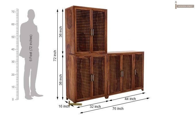 Niles Shoe Cabinet Set Of-3 (Teak Finish)-5