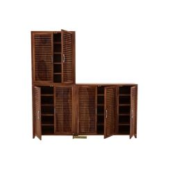Niles Shoe Cabinet Set Of-3 (Teak Finish)
