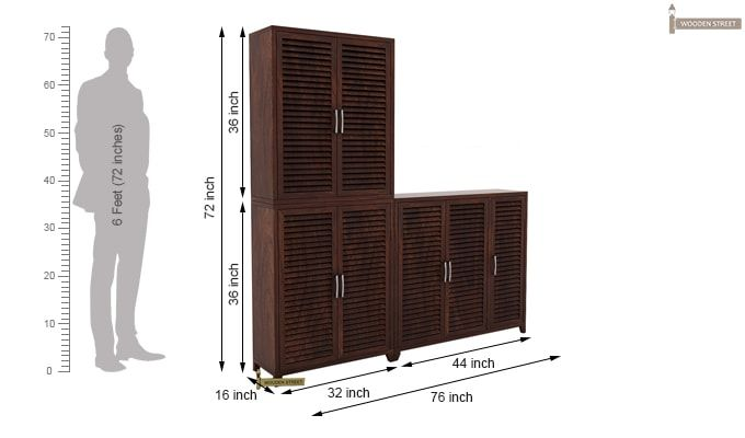 Niles Shoe Cabinet Set Of-3 (Walnut Finish)-5