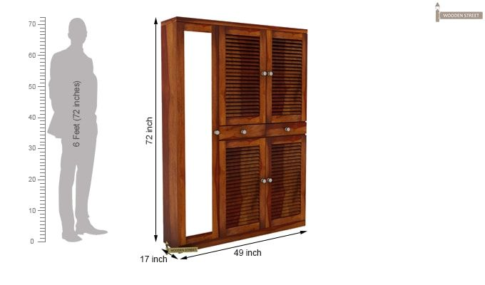 Paulin Shoe Cabinet (Honey Finish)-4