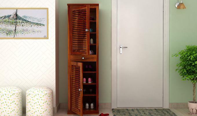 Radius Shoe Cabinet (Honey Finish)-1
