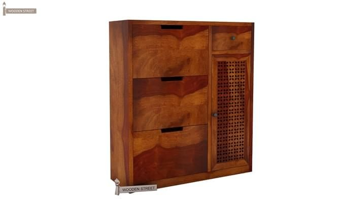 Rae Shoe Cabinet (Honey Finish)-2