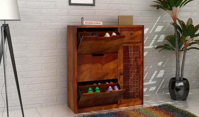Rae Shoe Cabinet (Honey Finish)-1