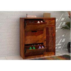 Rae Shoe Cabinet (Honey Finish)