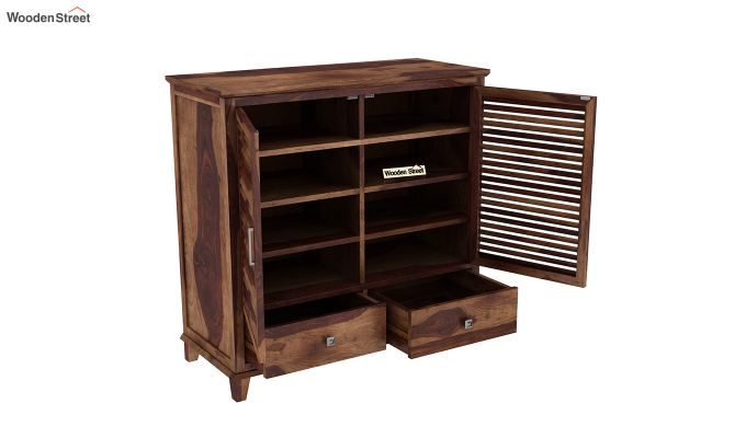 Velvic Footwear Rack With Drawers (Teak Finish)-4