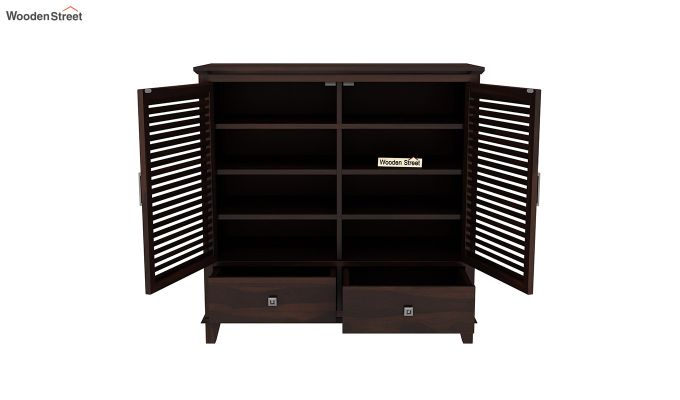Velvic Footwear Rack With Drawers (Walnut Finish)-5