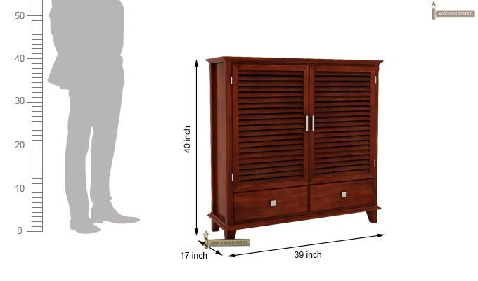 Velvic Footwear Rack With Drawers (Honey Finish)-4