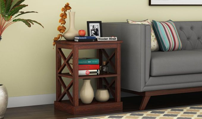 Adonis Chair Side End Table (Walnut Finish)-1