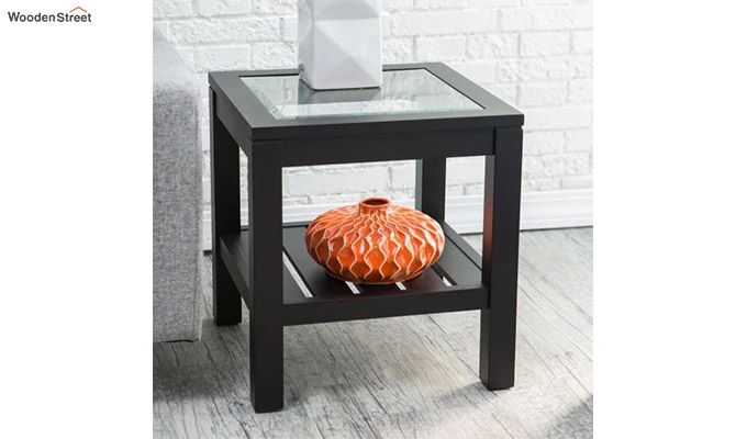Brutus Glass Top End Table with Slat Bottom (Black Finish)-1