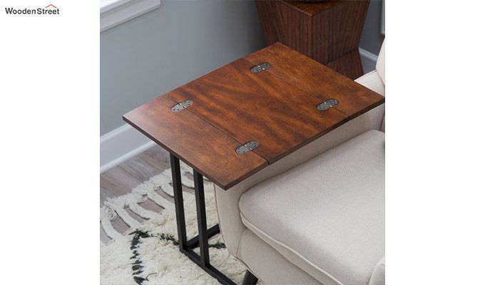 Clint Folding Side Table (Walnut Finish)-1