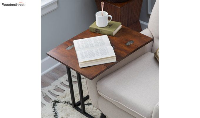 Clint Folding Side Table (Walnut Finish)-4