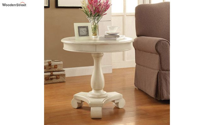 Darter Round End Table (White Finish)-1