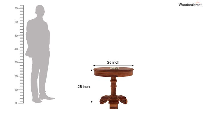 Dome Round End Table (Honey Finish)-4