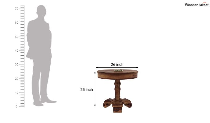 Dome Round End Table (Teak Finish)-4