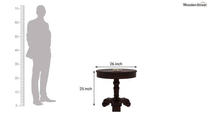 Dome Round End Table (Walnut Finish)-4