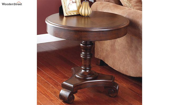 Dome Round End Table (Walnut Finish)-1