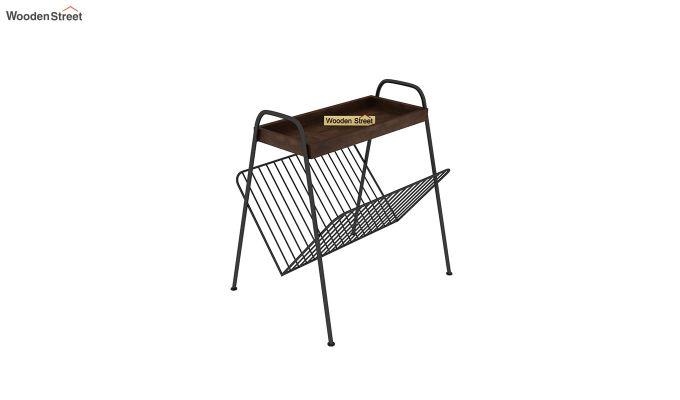 Ebony Side End Table with Shelf (Walnut Finish)-2