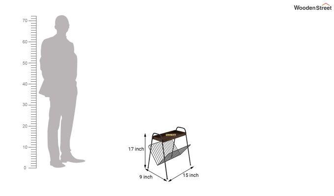Ebony Side End Table with Shelf (Walnut Finish)-4