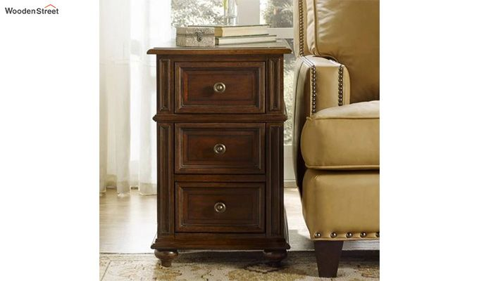 Liana Side End Table With Drawers (Teak Finish)-1