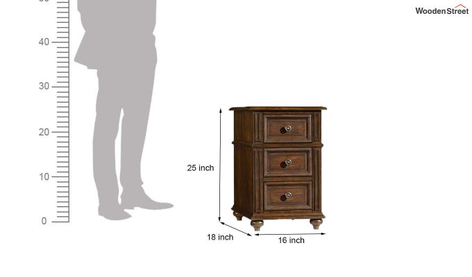 Liana Side End Table With Drawers (Teak Finish)-4