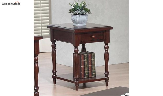Minerva Drawer End Table (Walnut Finish)-1