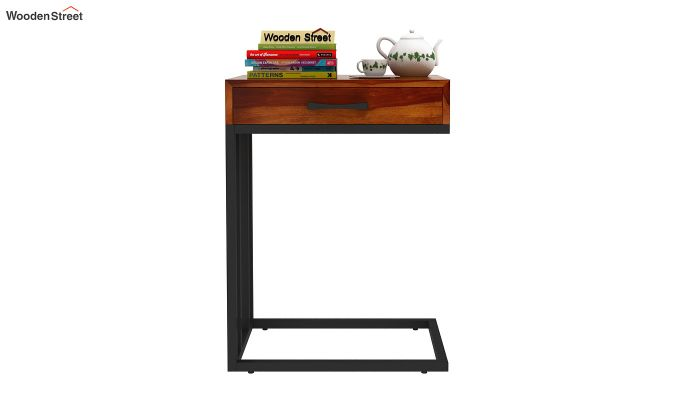 Salvo Side Table With Drawer (Honey Finish)-2