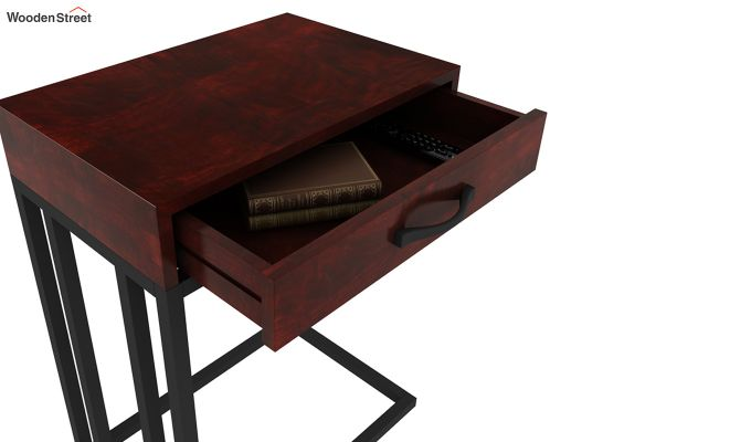 Salvo Side Table With Drawer (Mahogany Finish)-6