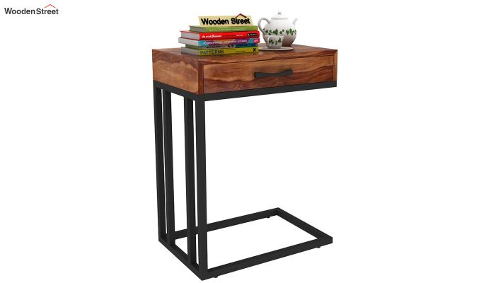 Salvo Side Table With Drawer (Teak Finish)-2
