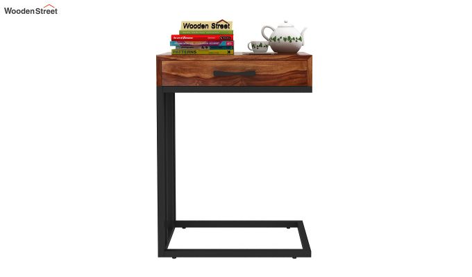 Salvo Side Table With Drawer (Teak Finish)-3