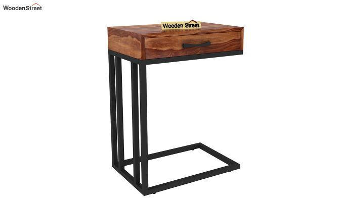 Salvo Side Table With Drawer (Teak Finish)-4