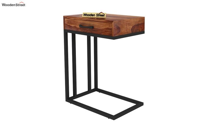 Salvo Side Table With Drawer (Teak Finish)-6