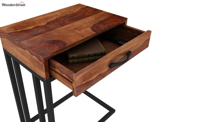 Salvo Side Table With Drawer (Teak Finish)-7