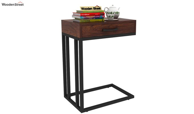 Salvo Side Table With Drawer (Walnut Finish)-1