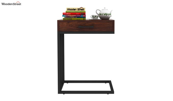 Salvo Side Table With Drawer (Walnut Finish)-2