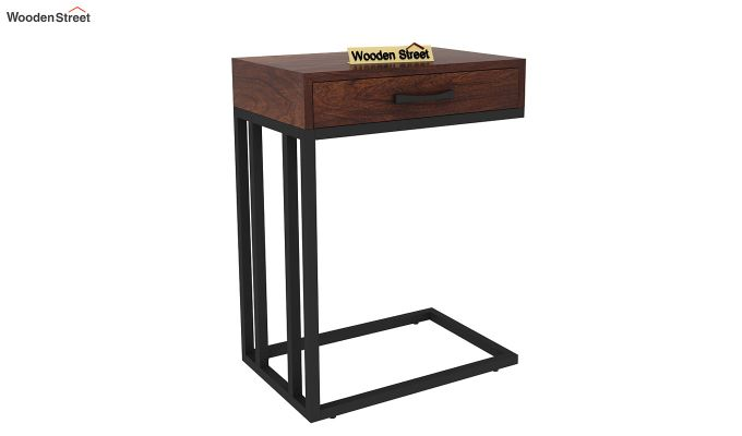 Salvo Side Table With Drawer (Walnut Finish)-3