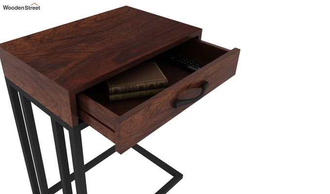 Salvo Side Table With Drawer (Walnut Finish)-6