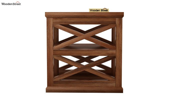 Scribble Chair Side End Table (Teak Finish)-3