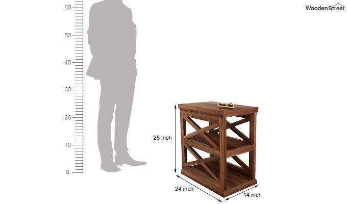Scribble Chair Side End Table (Teak Finish)-6