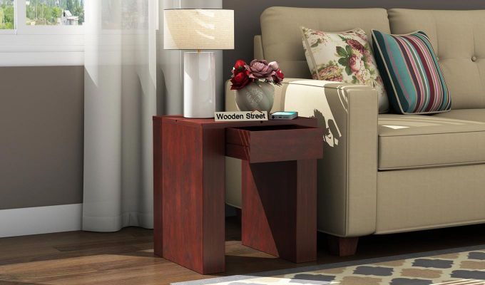 Vadis Chair Side Table (Mahogany Finish)-1