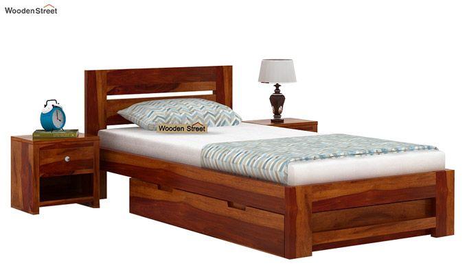 Denzel Single Bed With Storage (Honey Finish)-2