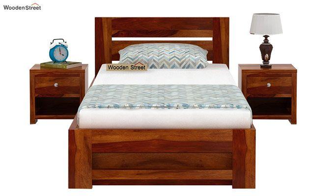 Denzel Single Bed With Storage (Honey Finish)-3