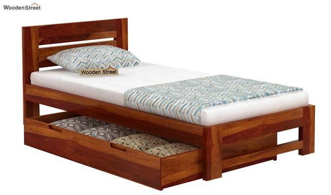 Denzel Single Bed With Storage (Honey Finish)-6