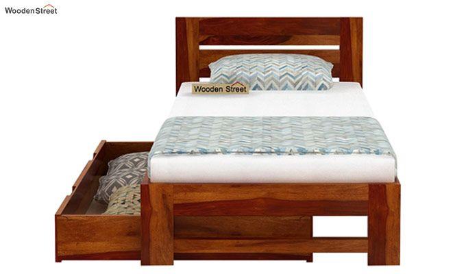 Denzel Single Bed With Storage (Honey Finish)-7
